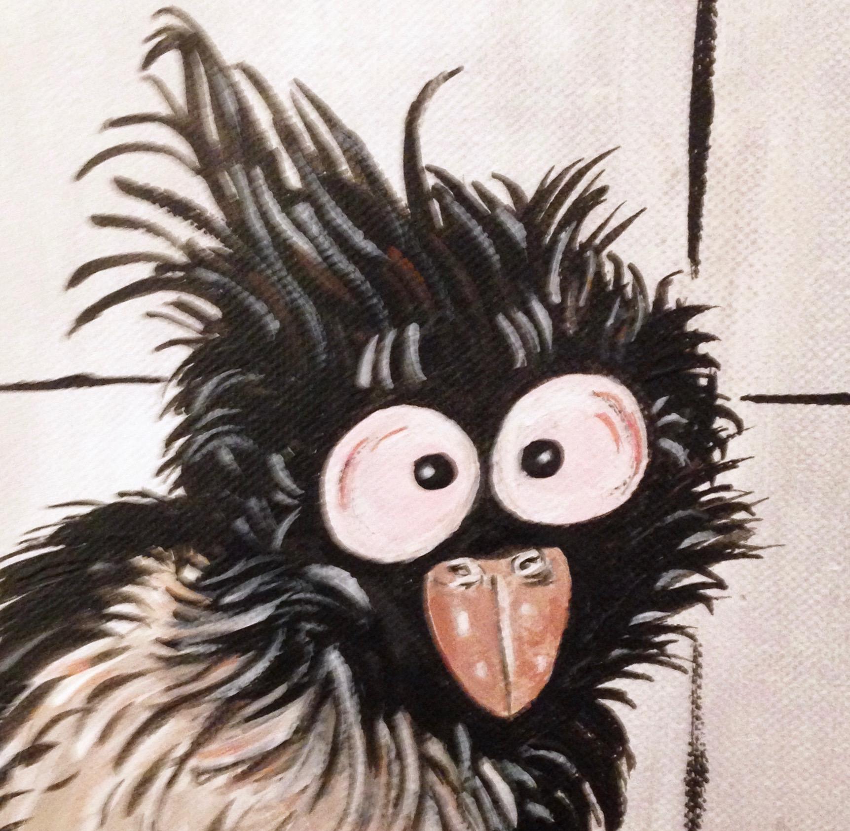 tableau d art peinture acrylique avec oiseau comique eleanor gabriel. Black Bedroom Furniture Sets. Home Design Ideas