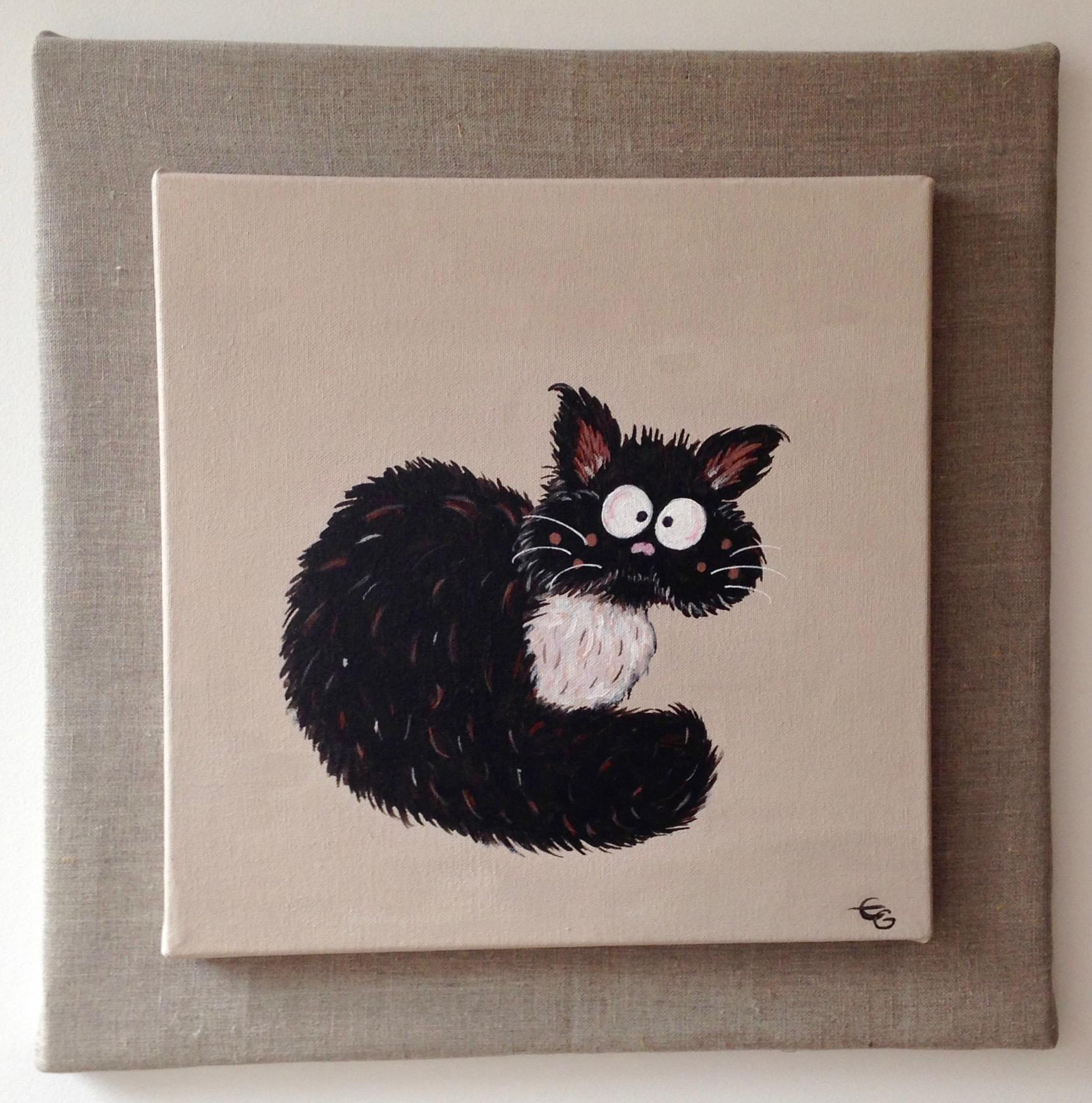 Connu Tableau peinture du Chat au plastron | Eleanor Gabriel KA94